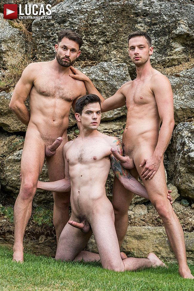 Against. removed Three men take turns giving naked model sex